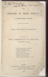The History of Mary Prince, A West Indian Slave  -Title Page
